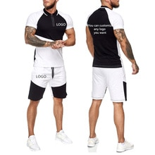 Tracksuit Men Summer Casual Sets Customize any logo you want Stitching color Cotton Men's Short Slee