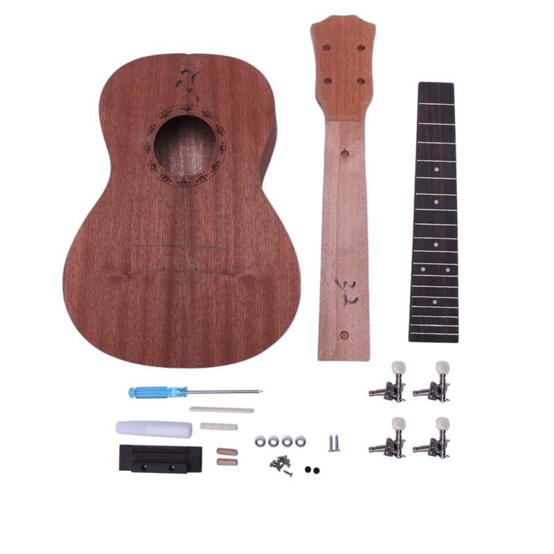 Ukelele de concierto Diy Kit de 23 pulgadas caoba, 4 cuerdas de guitarra Hawaiana para pintura hecha a mano, campaña perfecta para padres e hijos