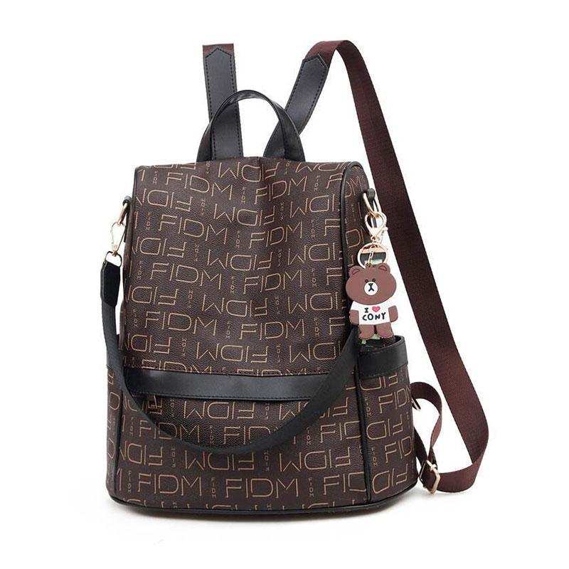 2021 New Travel Leisure Backpack Women Fashion PU Letter Print Pattern Women's Backpack Harajuku Waterproof Shoulder Bag Handbag 2018 life is strange backpack with butterfly pattern shoulder bag