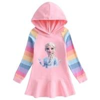 spring and autumn disney frozen rainbow long sleeve hooded girls dress cotton baby elsa princess lotus edge cute cartoon dress