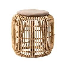 190011VL tabourets en osier ronds petit banc paille rotin repose-pieds canapé rond rotin tabouret salon Simple chaise basse ménage