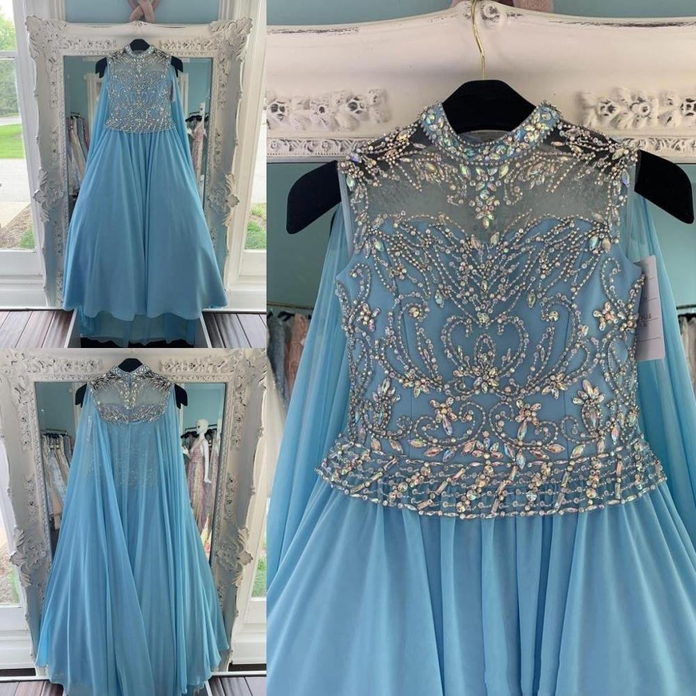 Blue Chiffon Pageant Dresses With Cape for Teens 2020 with Wrap Bling Rhinestones Long Pageant Gowns for Little Girls Formal
