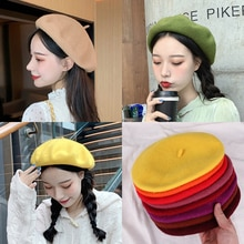 Beret Women's Autumn and Winter Korean Style Trendy British Vintage Wool Beret Japanese Candy Color