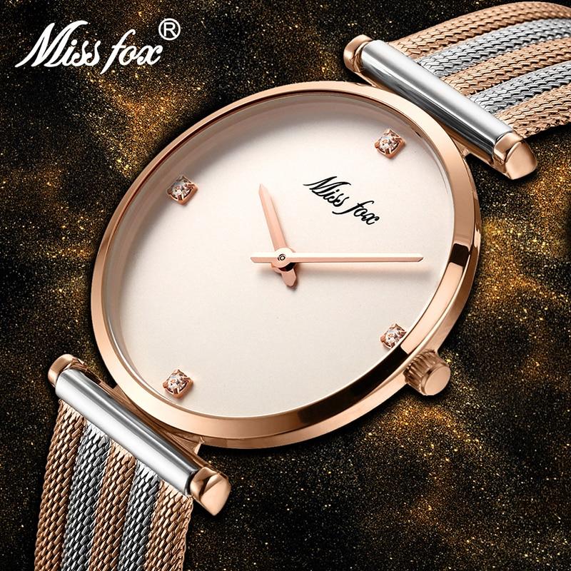 MISSFOX Women Watches Luxury Brand Rose Bracelet Quartz Watch Fashion Mesh Strap Ladies Watches Eleg