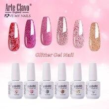 Arte Clavo Glitter Color Gel Nail Polish Manicure Shiny Nail Art Soak Off UV LED Nail Art Gel Girl F