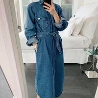 new fashion 2020 autumn casual long jean jacket trench coat with belt female windbreaker