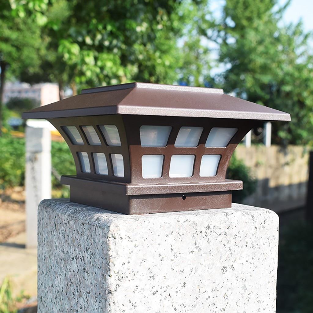 Solar Post Lampe Outdoor IP65 Wasserdicht Spalte kopf licht Für Garten wand lampe garten Post Deck Kappe Zaun Landschaft Lampe #25