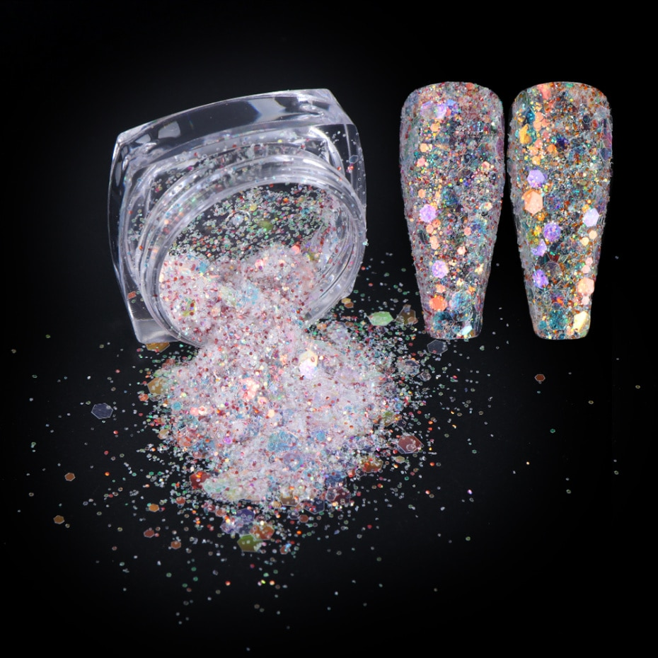 6 Box Glitter Flakes Nail Art Decoration Mermaid Sequins Powders Set 3d Charm Nail Designs Polish Spangles Accessory La1539 19 1 Nail Glitter Aliexpress