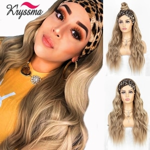 kryssma Long Wavy Hair Wig Natural Ash Blonde Headband Synthetic Wigs Ombre Body Wave Headband Wig For Women Heat Resistant Hair