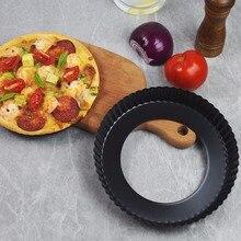 Антипригарная круглая тарелка для пиццы, пирожное, пирожное со съемным свободным дном, рифленая тарелка для пиццы, посуда для выпечки, Прямая поставка #1