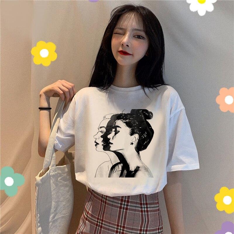¡Novedad de 2020! Camiseta Vogue para mujer, camiseta de verano con estampado estético de manga corta y cuello redondo de algodón y licra, Camiseta ajustada de estilo Harajuku suave