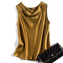 2020 été femmes nouvelle mode 100% Pure soie Satin haut Camisole chemise SO0067