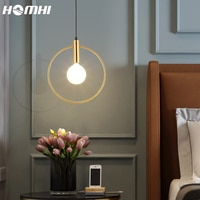 Gold Lamp Pendant Lights Hanglamp Loft Ring Round Luminaire Suspension Bedroom Bedside Nordic Design Home Deco Bar Living Room