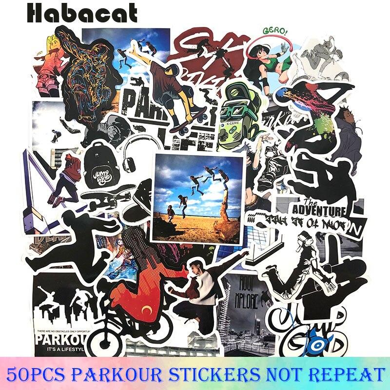 50 unids/pack Pegatinas de grafiti Parkour para deportes al aire libre, Pegatinas para motocicleta, equipaje, portátil, bicicleta, patineta, Pegatinas