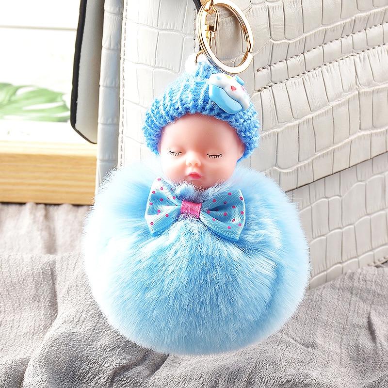 LLavero de peluche bonito llavero de muñeco de bebé durmiendo felpa Kpop accesorios pompón llavero juguetes para niñas Kawaii llavero bolsa colgante