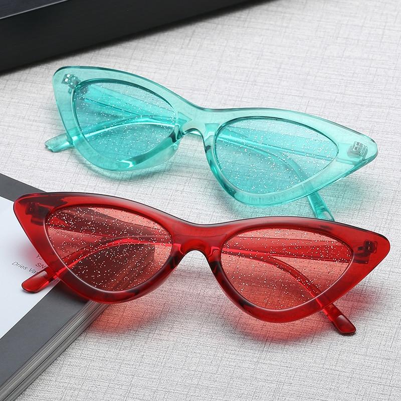 2018 новые маленькие Солнцезащитные очки женские винтажные очки кошачий глаз оправа оттенок сексуальные блестящие линзы кошачий глаз очки Оттенки uv400