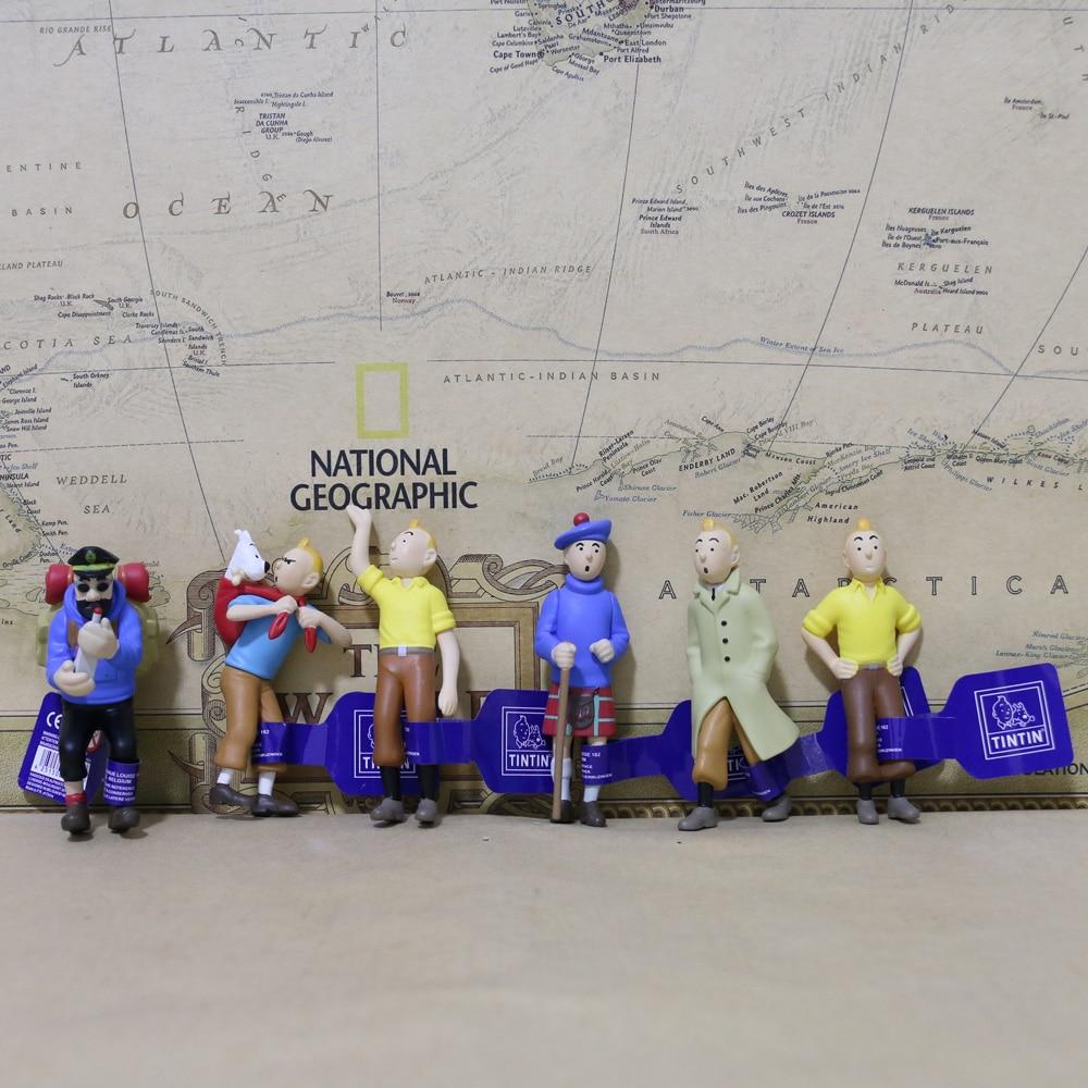 6 قطعة تمثال ليه افينتورز دي تينتين هيرج الكلاسيكية الهزلي أنيمي مغامرات التينتين الهادوك نموذج لجسم اللعب هدية