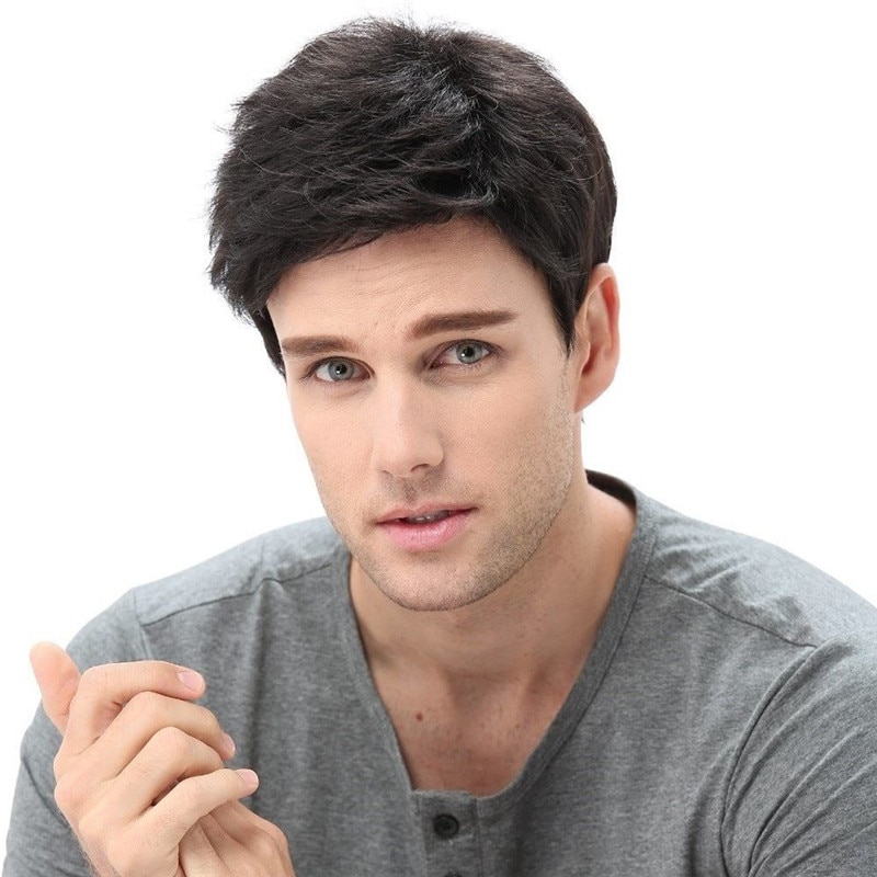 Men Short Black Wigs With Bangs Layered Wavy Cosplay Party Daily Use Synthetic wig For Male