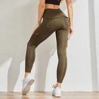 2021 sports leggings women fitness pocket push up breathable sweatpants high waist running workout slim fit gym legging
