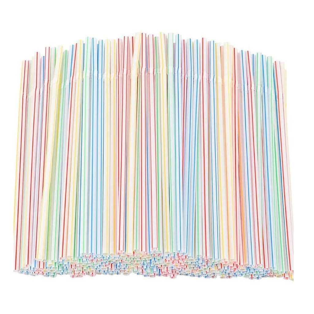 100pcs Disposable Plastic Drinking Straws Multi-colored Striped Bendable Elbow Straws Party Event Alike Supplies Color Random