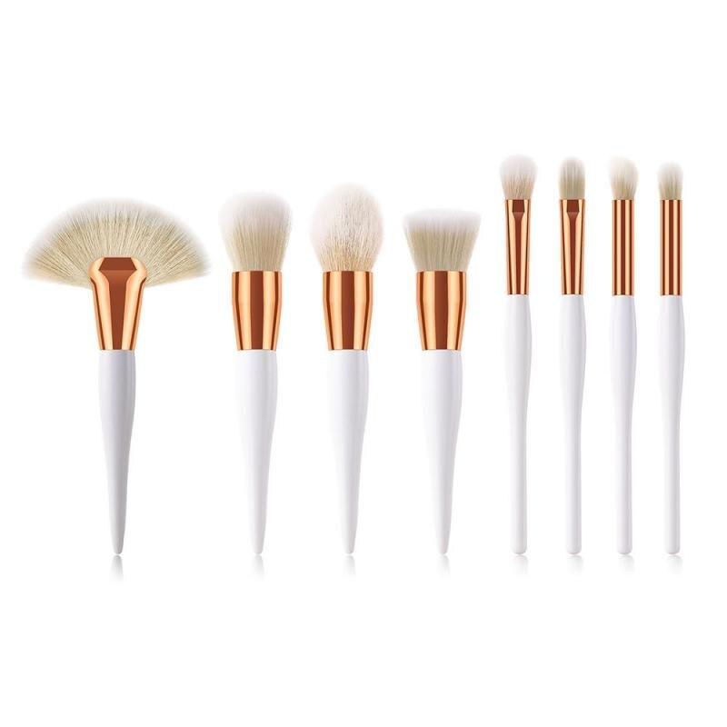 8 шт. набор кистей для макияжа, один большой веер, плоская головка, кисть для теней, круглая головка, косая кисть для консилера, инструменты для макияжа