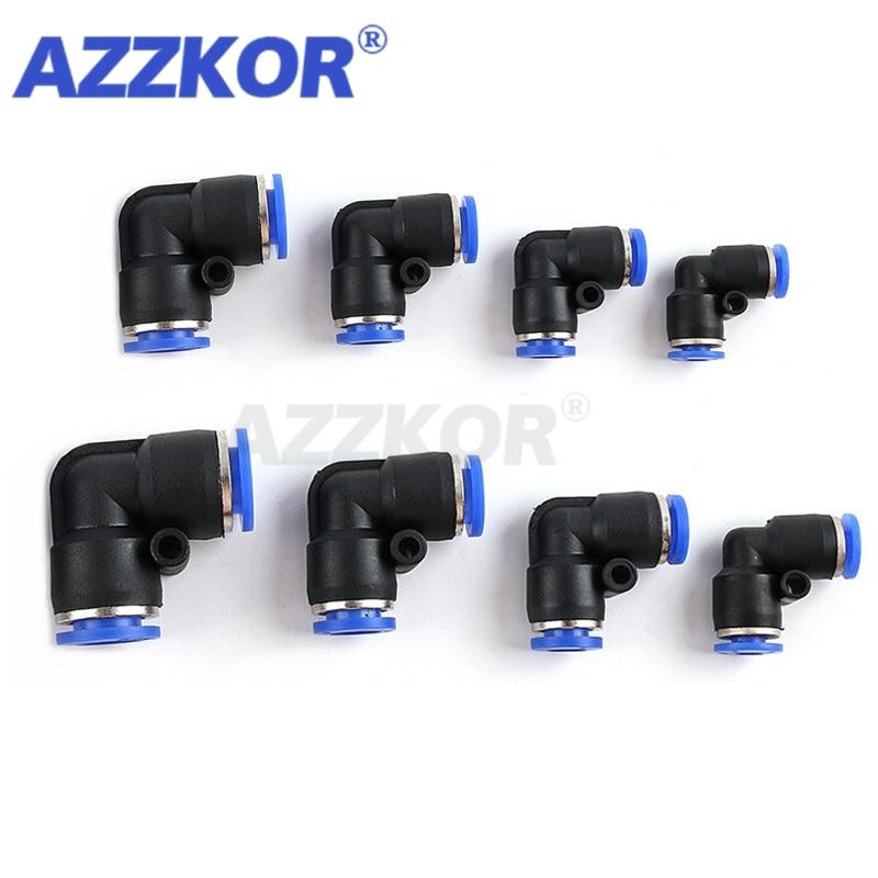 Conector neumático PV en forma de L en ángulo recto para manguera, neumático de ajuste rápido, Conector de tubería, componentes neumáticos 4-16mm