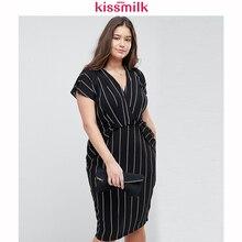 Kissmilk Plus Größe Frauen Sommer Vertikale Streifen Einfache druck Wrap V-ausschnitt Rüschen Kurzarm Bodycon Büro Dame Midi Kleid