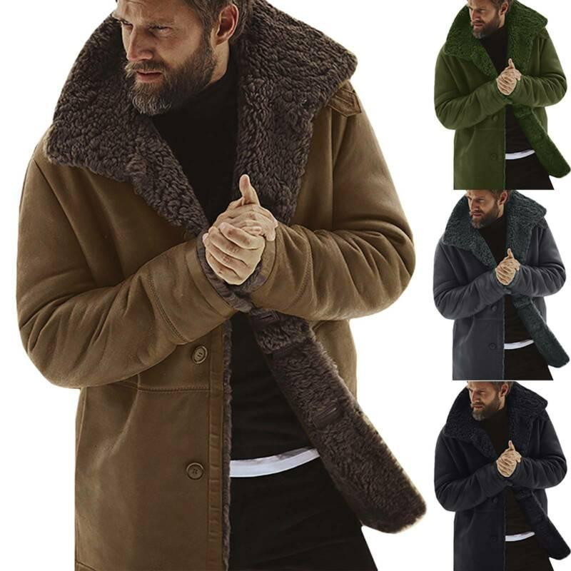 2021 New Autumn And Winter Men Winter Fleece Thick Warm Coat Outwear Trench Leather Jacket Long Sleeve Fur