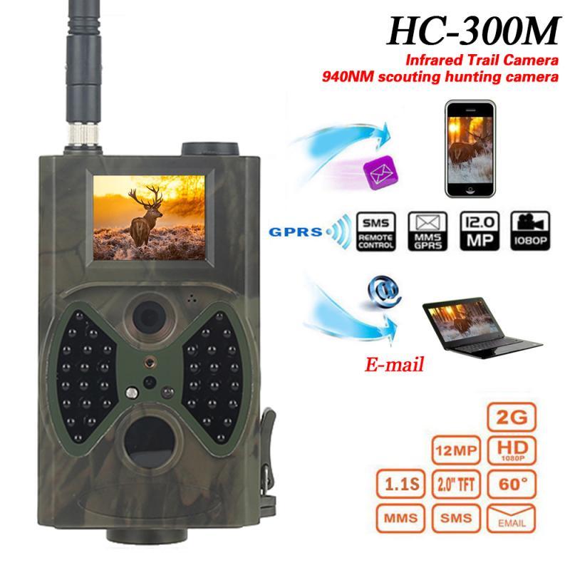 Hc300m caça câmera gsm 12mp 1080p foto armadilhas visão noturna animais selvagens caça infravermelha trail câmeras caça chasse scout 7