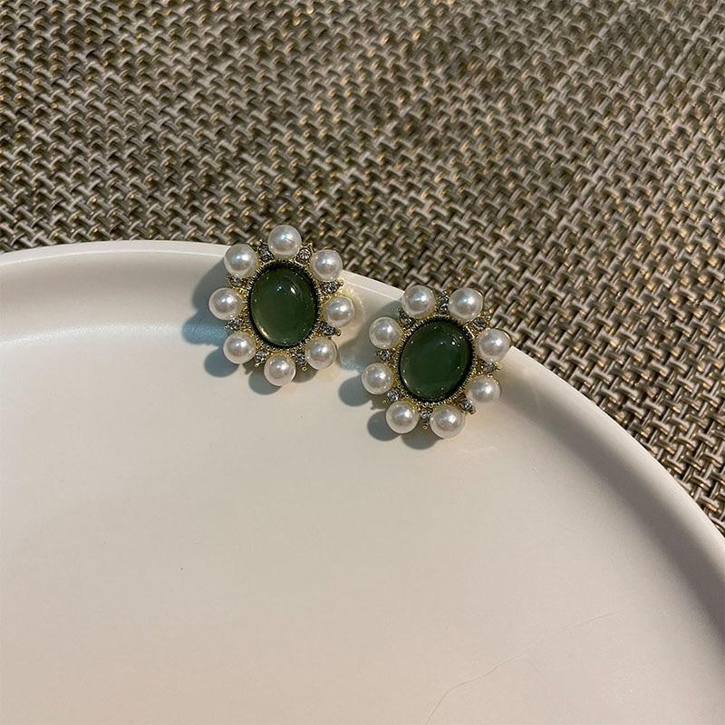Retro Temperament Green Oval Opal pearls Stud Earrings For Women Exquisite Elegant Korea 2021 Trend Fashion Jewelry Earrings