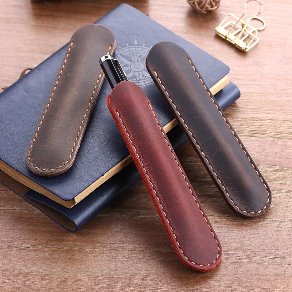 Кожаный чехол для ручек, чехол для перьевых ручек, кожаный защитный чехол для ручек (кофейный) чехол