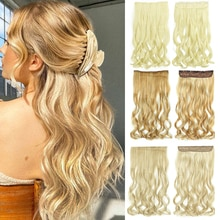 My-Diva 5 clip Long Wavy Hair Extention Natural Silky 22inches Clip in women pieces Fake Hair Synthe