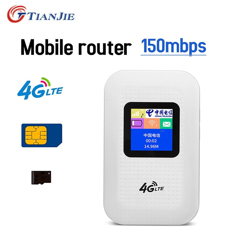 TIANJIE Unlock 3G/4G Wifi Router with SIM Card Slot Pocket LTE 150Mbps mobile Broadband Network Sticker Wireless hotspot Wi-Fi