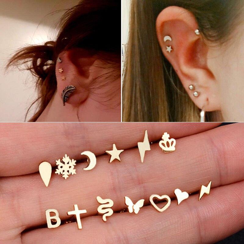 1Pc de acero inoxidable Mini oro bicicleta pendientes de tornillo helicoidal trago lóbulo Concha hueso del oído del cartílago de las mujeres Piercing