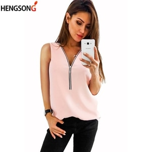 New Summer Blouse Women's Clothing Vest Solid Color Sleeveless V-Neck Loose Chiffon Shirt Zipper Women Tops
