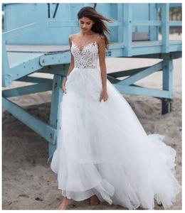 Beach Wedding Dress 2021 Robe De  White/Ivory Tulle Appliques Boho Bridal Dress vestido de noiva Elegant Princess Wedding Gowns