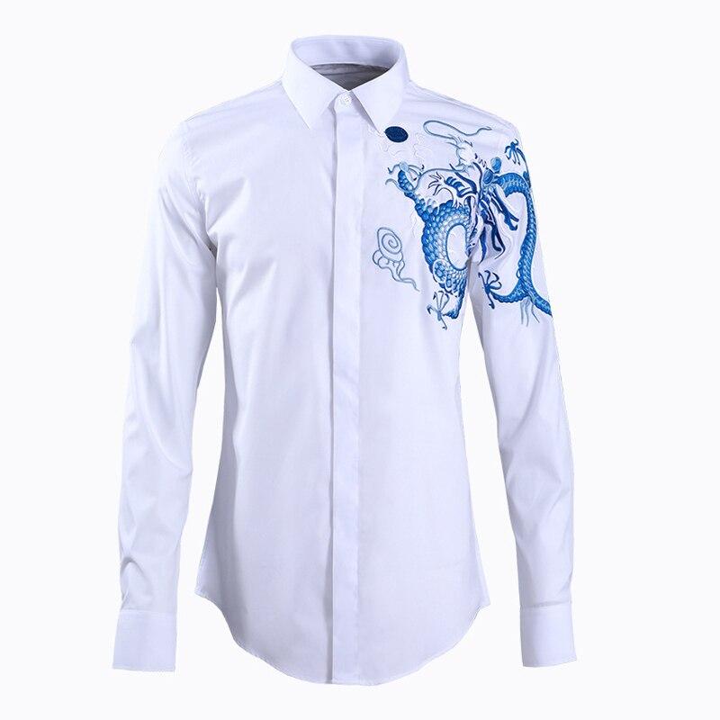 Marke Business männlichen Kleid Shirts 2019 drehen-unten kragen langarm Chemise homme Schlank China Drachen Gedruckt männer Hemd
