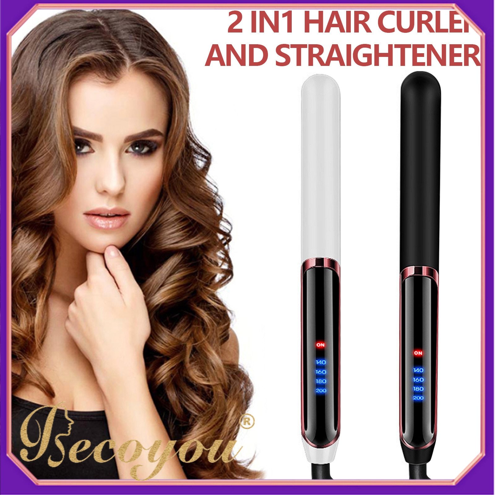 2 em 1 íons negativos portáteis cabelo curling curler varinha rolo alisador de cabelo estilo máquina com 4 configurações temperatura