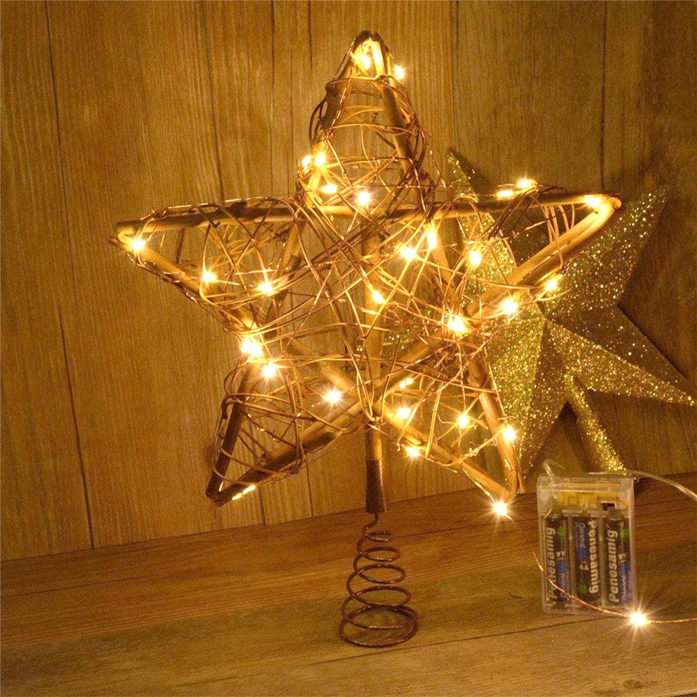 Christmas Star Tree Topper Lights Xmas Ornament for Party Decoration