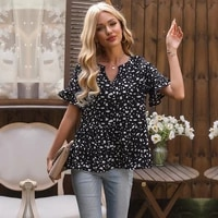 ueteey chiffon printed v neck short sleeve top temperament lady blouse summer women