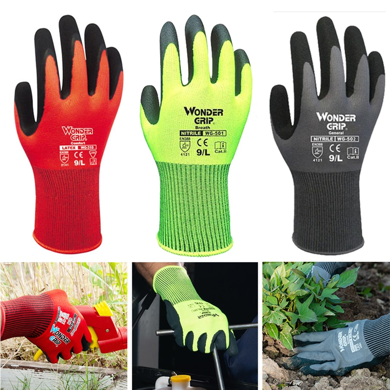 1 Pairs Gardening Gloves for Women & Men Nitrile Coated Garden Gloves Protect Against Cuts and Dirt Breathable Stretchable Nylon