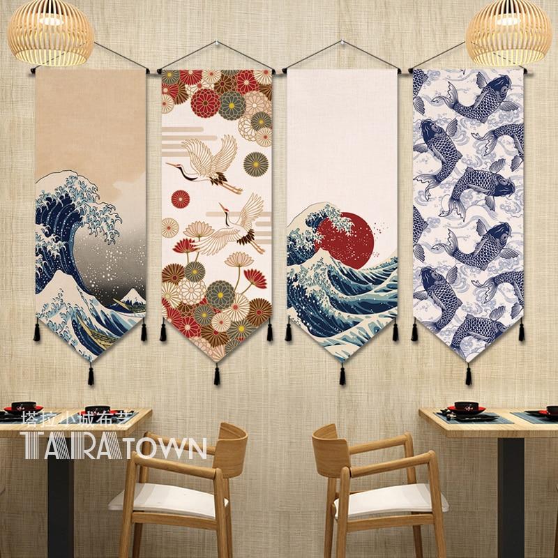Arte sofá Fondo Tapiz de pared japonés Ukiyoe manta colgante tela Tapiz dormitorio ventana Tapiz Sala decoración G5T