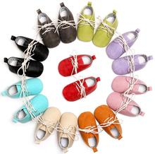 Однотонные детские мокасины из искусственной кожи на шнуровке; Туфли-оксфорды для новорожденных; Нескользящая обувь для малышей; Мягкие де...