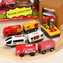 Controle remoto rc trem elétrico brinquedos conjunto compatiable para a trilha ferroviária de madeira apto para brio