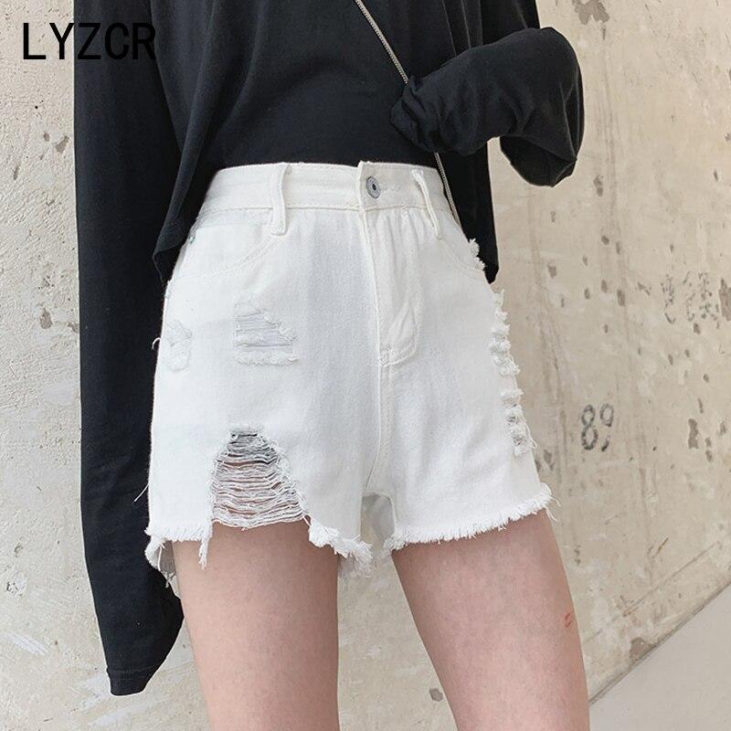 Lyzcr verão shorts de brim feminino sexy cintura alta rasgado shorts jeans feminino buraco solto jean curto talla grande mujer