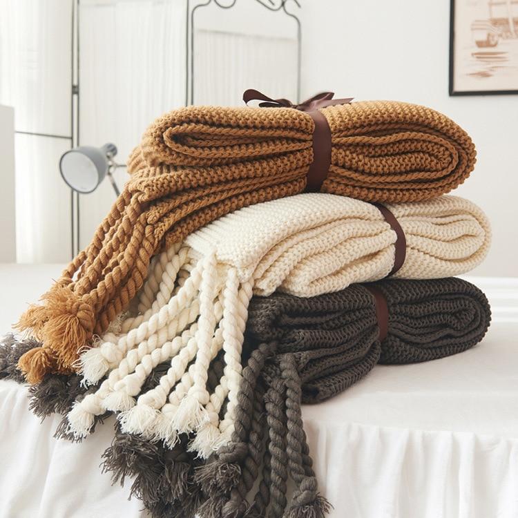 بطانية سفر ، بسيطة ، محبوكة ، بشراشيب ، لسرير أو أريكة ، منسوجات منزلية ، مضادة للقطع ، محمولة