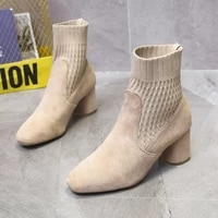 womens boots autumn and winter new solid color square heel socks boots high heel boots womens ankle boots womens shoes 2021