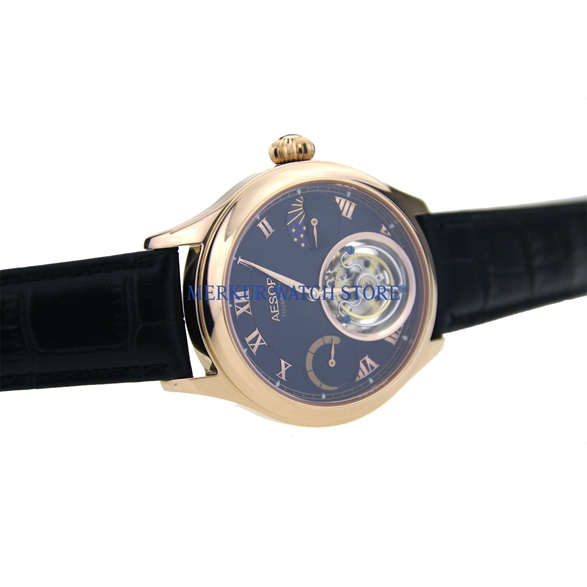 Merkur relógio masculino mecânico tianjin hangzhou alta batida tourbillon movimento skelenton luxo vestido banhado a ouro mostrador preto