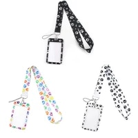 g1926 cartoon dog footprint necklack lanyard key gym strap multifunction mobile phone with card holder cover