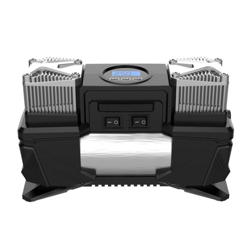 Bomba de inflado de neumáticos Digital portátil de doble cilindro montada en vehículo de 12V, compresor de aire de neumáticos de alta potencia, bomba de aire de coche